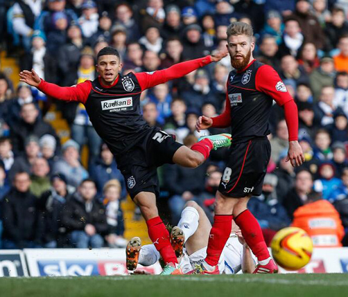 Nahki Wells shoots for goal in the first half. *Photo courtesy of Twitter @htafcdotcom