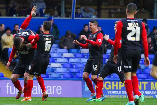 Wells goes to help celebrate Adam Clayton's goal. *Photo courtesy of Huddersfield Town