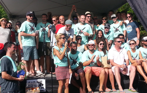 The participants from the 8 groundswell lionfish tournament 2014 teams line up for a celebratory photo. *Photo by Sarah Lagan